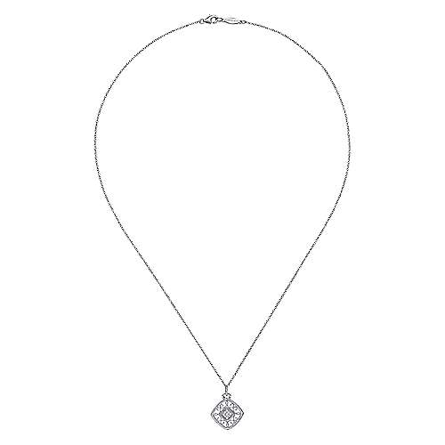18 inch Vintage Inspired 925 Sterling Silver Cushion Shape Diamond Necklace