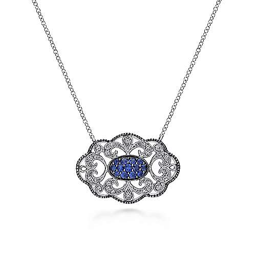 18 inch Vintage Inspired 925 Sterling Silver Openwork Filigree Sapphire Pendant Necklace