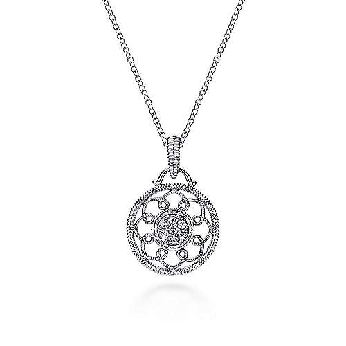 18 inch Vintage Inspired 925 Sterling Silver Round Diamond Filigree Pendant Necklace