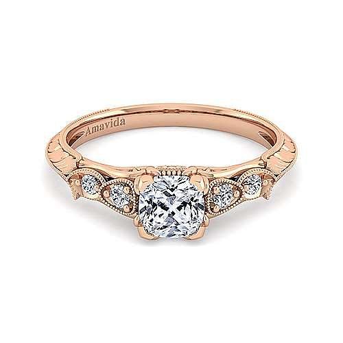 18K Rose Gold Cushion Cut Diamond Engagement Ring