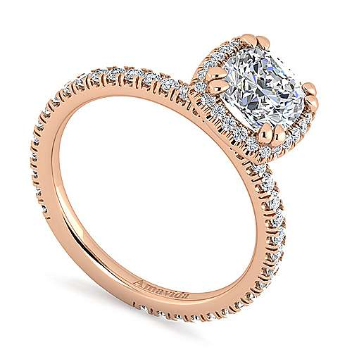 18K Rose Gold Cushion Halo Diamond Engagement Ring