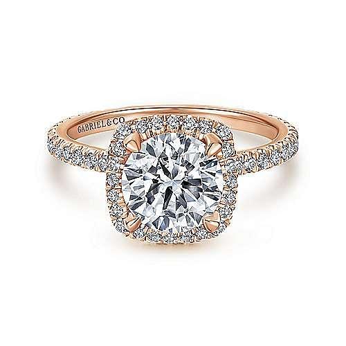 18K Rose Gold Cushion Halo Round Diamond Engagement Ring