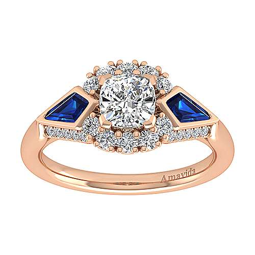 18K Rose Gold Cushion Halo Sapphire and Diamond Engagement Ring