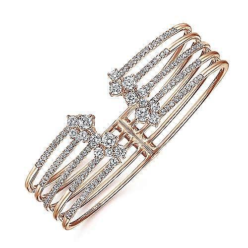 18K Rose Gold Diamond Fashion Bangle