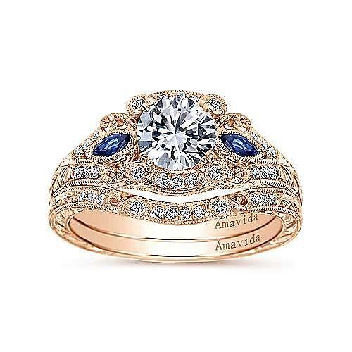18K Rose Gold Diamond Matching Wedding Band