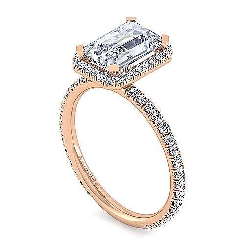18K Rose Gold Halo Emerald Cut Diamond Engagement Ring