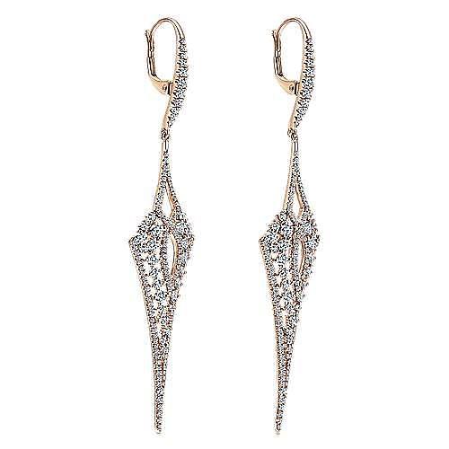 18K Rose Gold Long Diamond Kite Drop Earrings