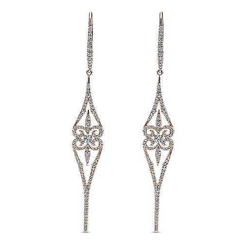 18K Rose Gold Long Swirly Linear Drop Diamond Earrings