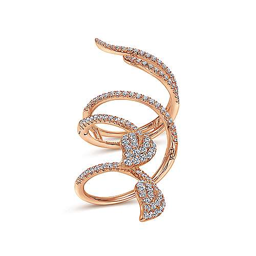 18K Rose Gold Long Wrapping Pavé Diamond Leaf Statement Ring