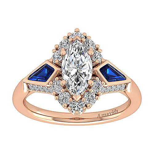 18K Rose Gold Marquise Halo Sapphire and Diamond Engagement Ring