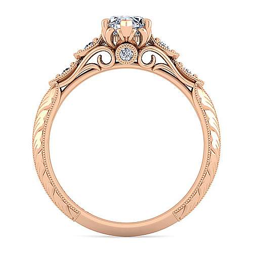 18K Rose Gold Marquise Shape Diamond Engagement Ring