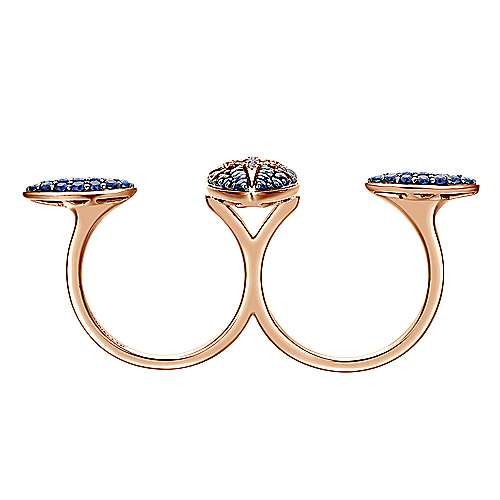 18K Rose Gold Marquise Starburst Sapphire and Diamond Open Double Ring