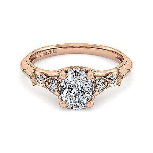 18K Rose Gold Oval Diamond Engagement Ring