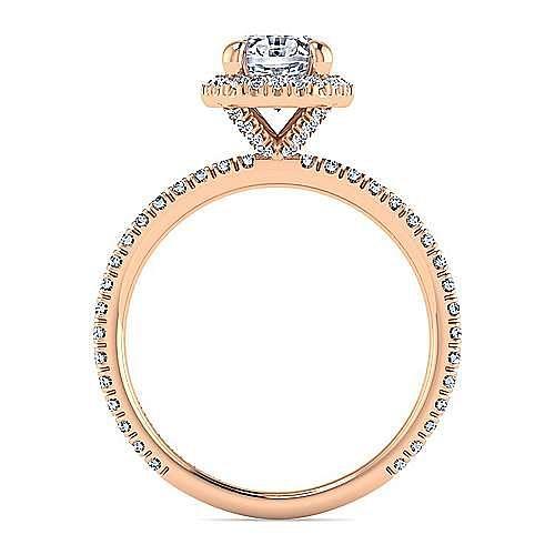 18K Rose Gold Oval Halo Diamond Engagement Ring