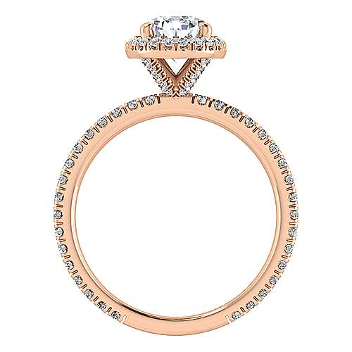 18K Rose Gold Pear Shape Halo Diamond Engagement Ring