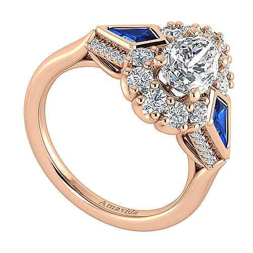 18K Rose Gold Pear Shape Halo Sapphire and Diamond Engagement Ring