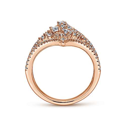18K Rose Gold Pointed Ends Ring with Diamond Cluster Center