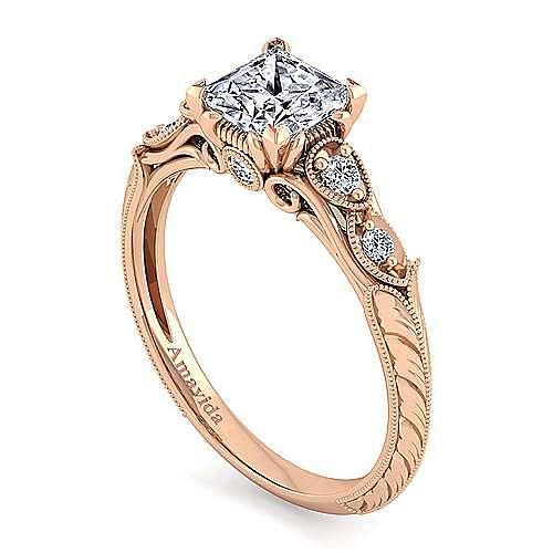 18K Rose Gold Princess Cut Diamond Engagement Ring