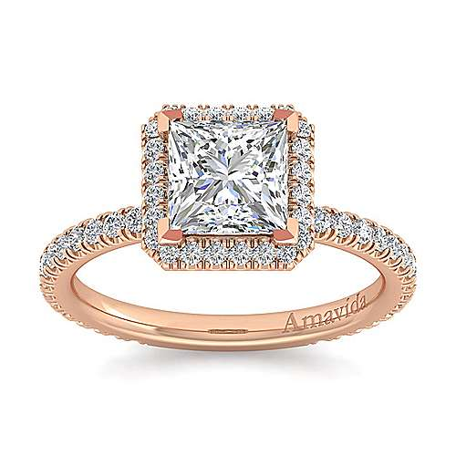 18K Rose Gold Princess Halo Diamond Engagement Ring