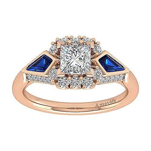 18K Rose Gold Princess Halo Sapphire and Diamond Engagement Ring