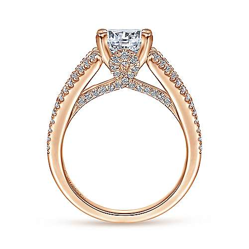 18K Rose Gold Round Diamond Engagement Ring
