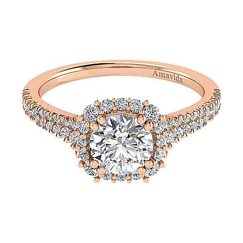 18K Rose Gold Round Halo Diamond Engagement Ring