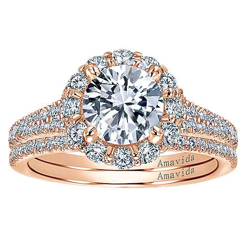 18K Rose Gold Round Halo Diamond Engagement Ring