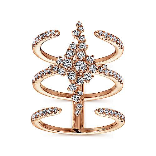 18K Rose Gold Three Row Open Ring with Pavé Diamond Cluster Center