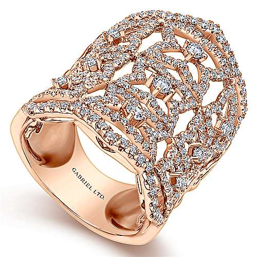 18K Rose Gold Wide Band Openwork Floral Pave Diamond Armor Ring