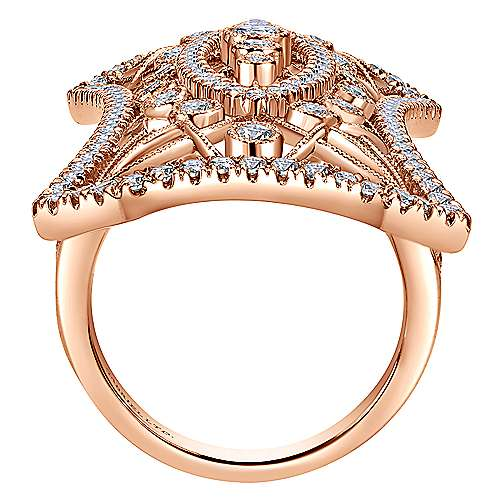 18K Rose Gold Wide Band Openwork Pave Diamond Armor Ring