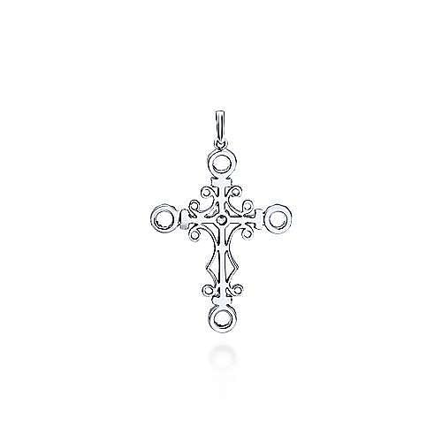 18K White Gold  Fashion Cross Pendant