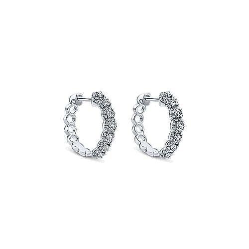 18K White Gold 15mm Diamond Huggie Earrings