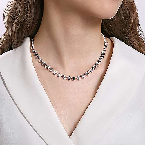 18K White Gold 16inches Diamond DBY Necklace