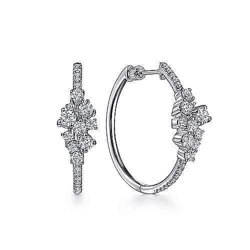 18K White Gold 30MM Cascading Diamond Hoop Earrings