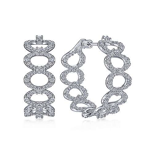 18K White Gold 30MM Oval Link Diamond Intricate Hoop Earrings