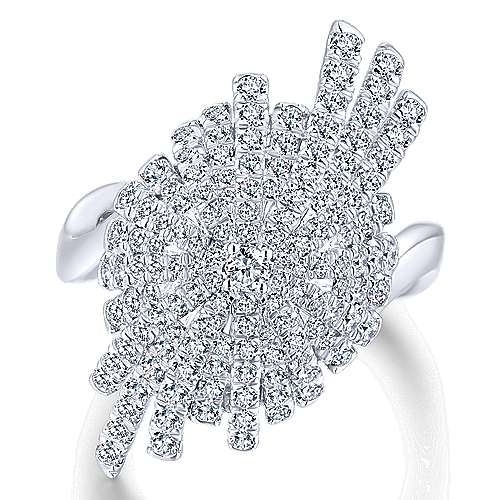 18K White Gold Abstract Diamond Burst Statement Ring