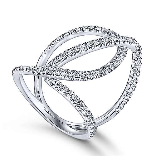 18K White Gold Abstract Diamond Ring