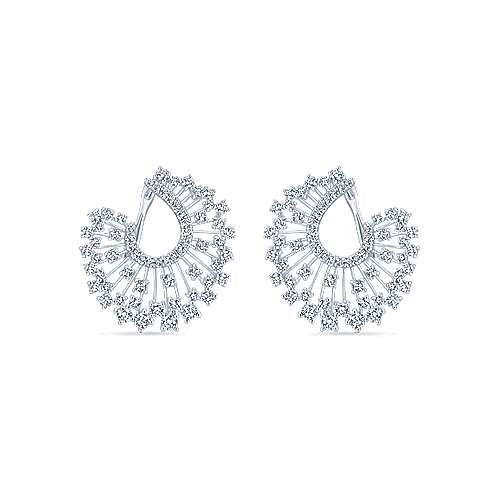 18K White Gold Abstract Openwork Diamond Statement Earrings