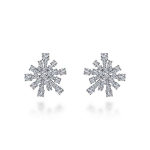 18K White Gold Abstract Snowflake 20mm Diamond Huggies