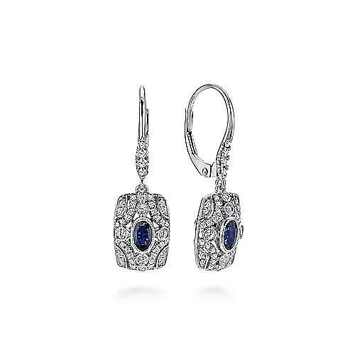 18K White Gold Art Deco Sapphire and Diamond Leverback Earrings