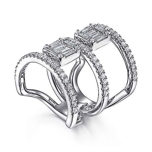 18K White Gold Baguette and Round Diamond Wide Three Row Ring