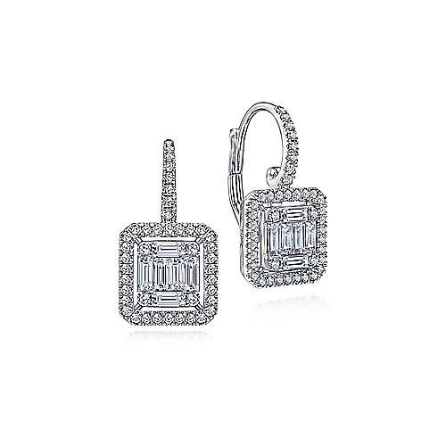 18K White Gold Baguette and Round Leverback Earrings