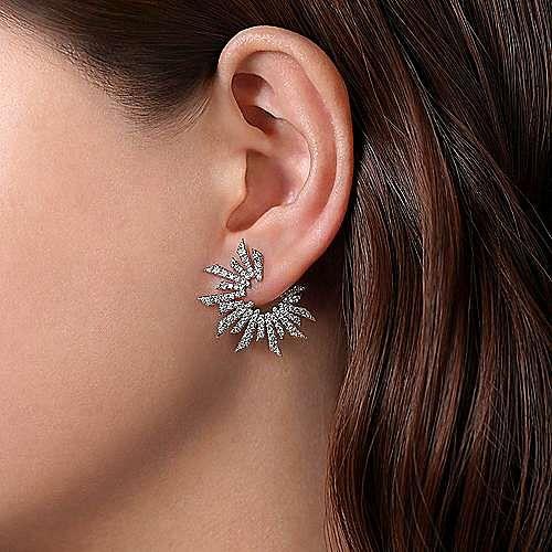 18K White Gold Bursting Diamond Open Circle Earrings