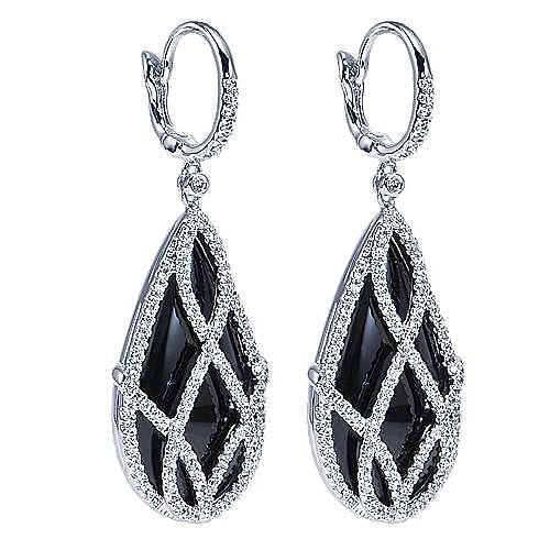 18K White Gold Caged Onyx Teardrop Diamond Earrings