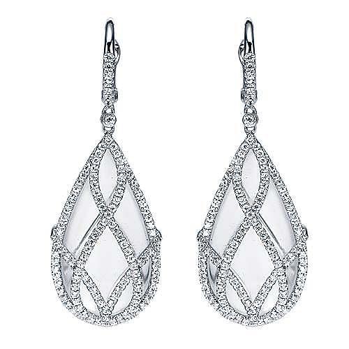18K White Gold Caged Rock Crystal Teardrop Diamond Earrings