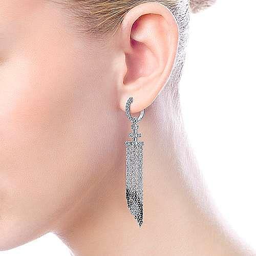 18K White Gold Cascading Chain Diamond Statement Earrings