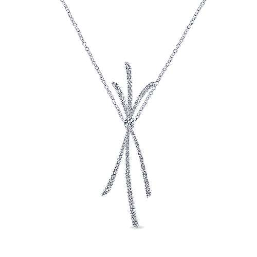 18K White Gold Criss Crossing Diamond Pendant Necklace