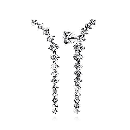 18K White Gold Curved Diamond Linear Stud Earrings