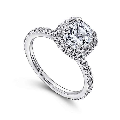 18K White Gold Cushion Cut Diamond Engagement Ring