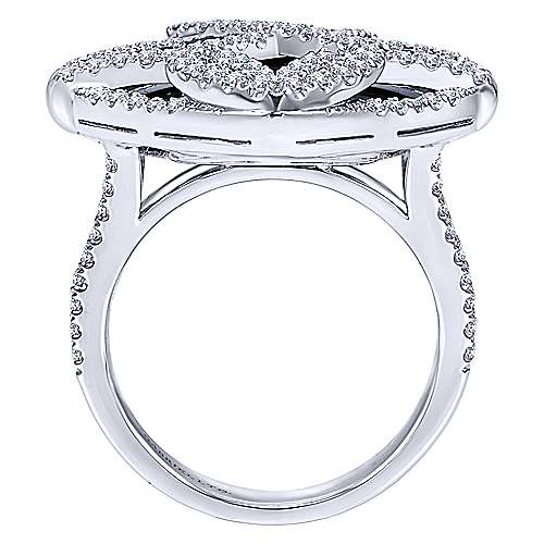 18K White Gold Cushion Cut Onyx Statement Ring with Diamond Overlay